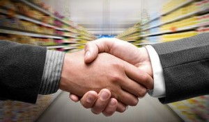 Handshake at supermarket